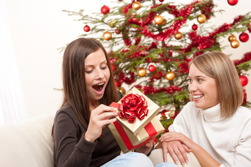 Young woman unpacking Christmas gift