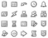 Database web icons, grey sticker series poster