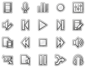 Audio video edit web icons, grey sticker series