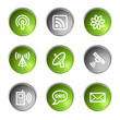 Communication web icons, green and grey circle buttons series