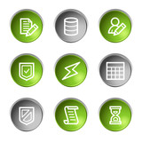 Database web icons, green and grey circle buttons series poster