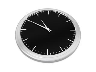 analoge Uhr mit schwarzem Ziffernblatt