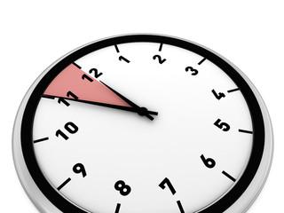 analoge Uhr, 5 Minuten vor 12