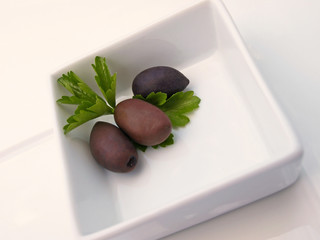Olives in dish