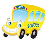 Fototapety Isolated yellow school bus. Vector Illustration.