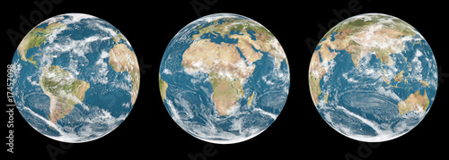 Set of 3 globes planet earth - black background