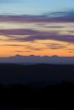 Vibrant blue orange sunrise over swedish mountains poster