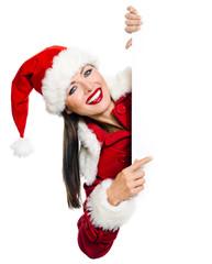 Frau im Weihnachtskostüm präsentiert Textfreiraum
