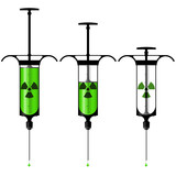 Syringe with toxic liquid and radioactive symbol poster