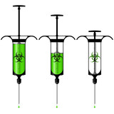 Syringe with toxic liquid and biohazard symbol poster