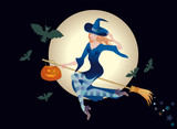 Beautiful woman a witch flies on a broom with a pumpkin-lantern