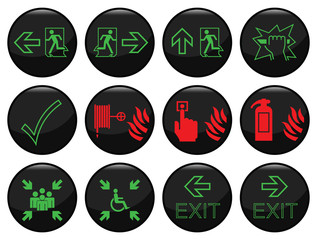 Fire and escape route black icon set individually layered
