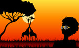 Silhouettes of the harmonous girl against a decline in a safari poster