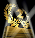 2 second two anniversary laurel wreath gold poster