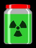 Jar with toxic liquid and radioactive symbol poster