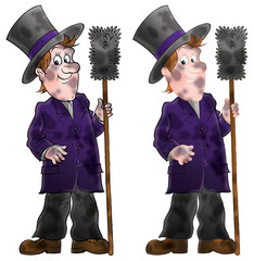 Chimneysweep (two drawings with black and color contours)