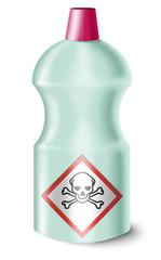 Flasche mit Gefahrstoffsymbol
