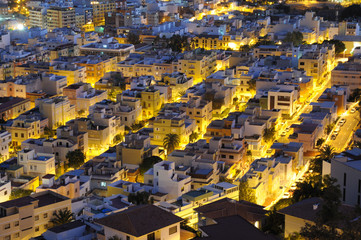 Aerial view over the streets of Santa Cruz de Tenerife, Spain