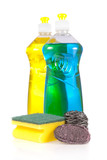 Detergent bottles, scouring, stainless and steel wool soap pads poster