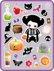 set of childish cartoon Halloween stickers