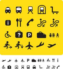 travel icon set on yellow