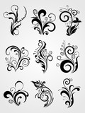 graphic design element floral tattoos poster
