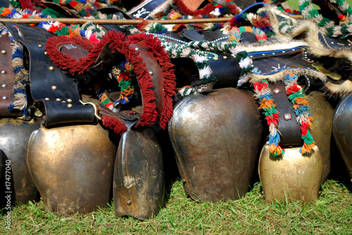 canvas print picture many bavarian cowbells