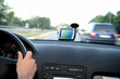 driving car with global positional system on highway