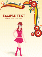 a young beautiful fashion girl with place for text, vector