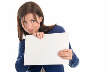 Portrait of beautiful woman holding blank note card