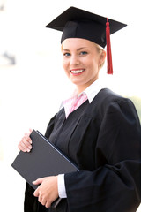 Woman in graduation robes