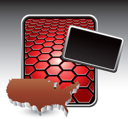 United states icon on red hexagon advertisement