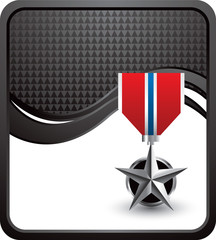 Military medal on black checkered wave background