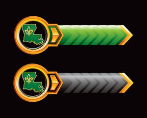 Louisiana icon on green and black arrows