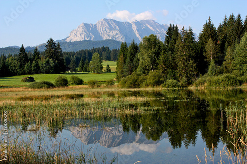 View of Tennsee lake and Alps in Bavaria in Germany