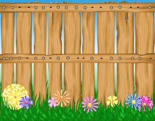 cerco de madera con flores