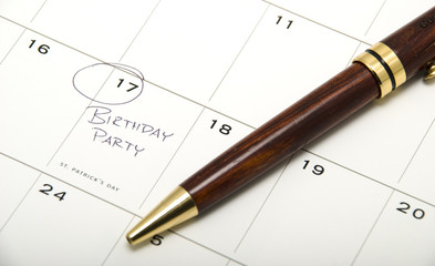 Birthday Party marked on Calendar