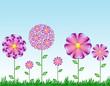 fondo fantasia con flores divertidas