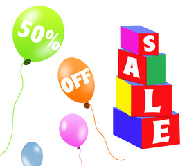 Sale brick and balloons