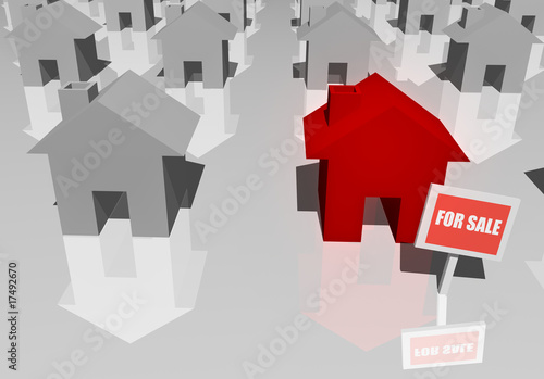 For Sale Sign and 3d Real Estate Houses