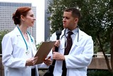 Doctors downtown park discuss lab results