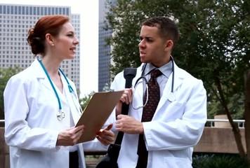 Doctors downtown park discuss lab results