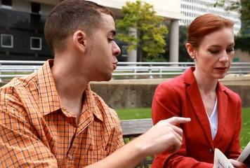 Man and Woman Talking City Park