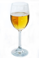 High glass light beer on a white background