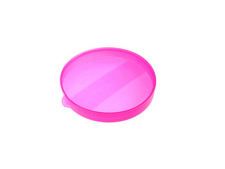 Pink plastic cap on bank