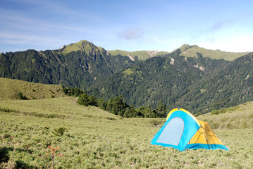 Beautiful mountain and tent.