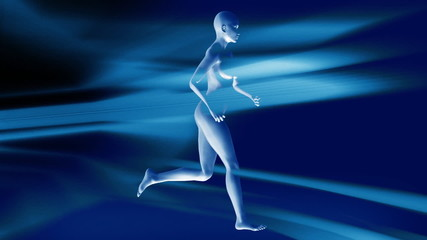 Woman running and flowing lights,loop
