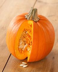Cut Pumpkin Exposing Seeds