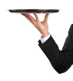 waiter with tray poster