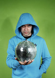 young man in a blue dress with a discoball poster